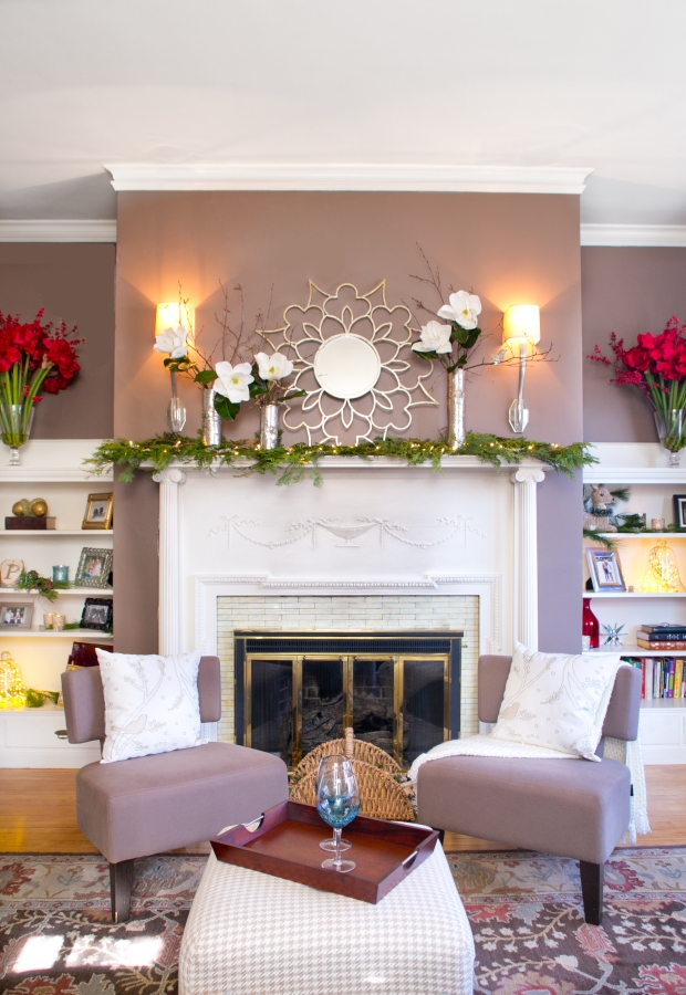 photo of fireplace mantle decor, magnolia and birch vases
