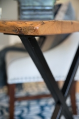 photo of reclaimed wood desk top and iron base
