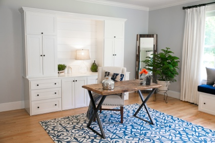 photo of shiplap wall and built-ins with reclaimed desk