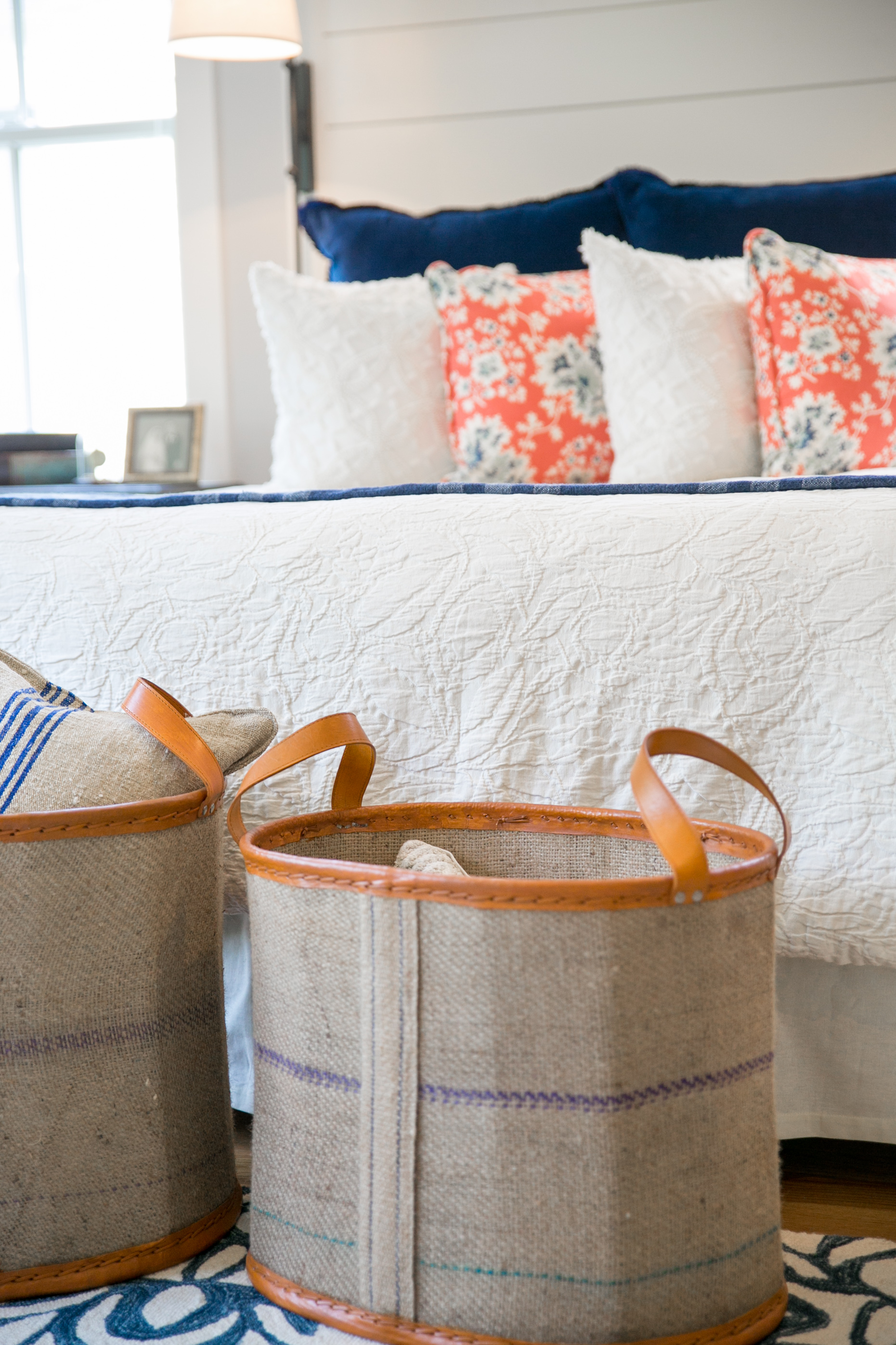 Navy, coral and cream master bedroom with shiplap details | The Good ...
