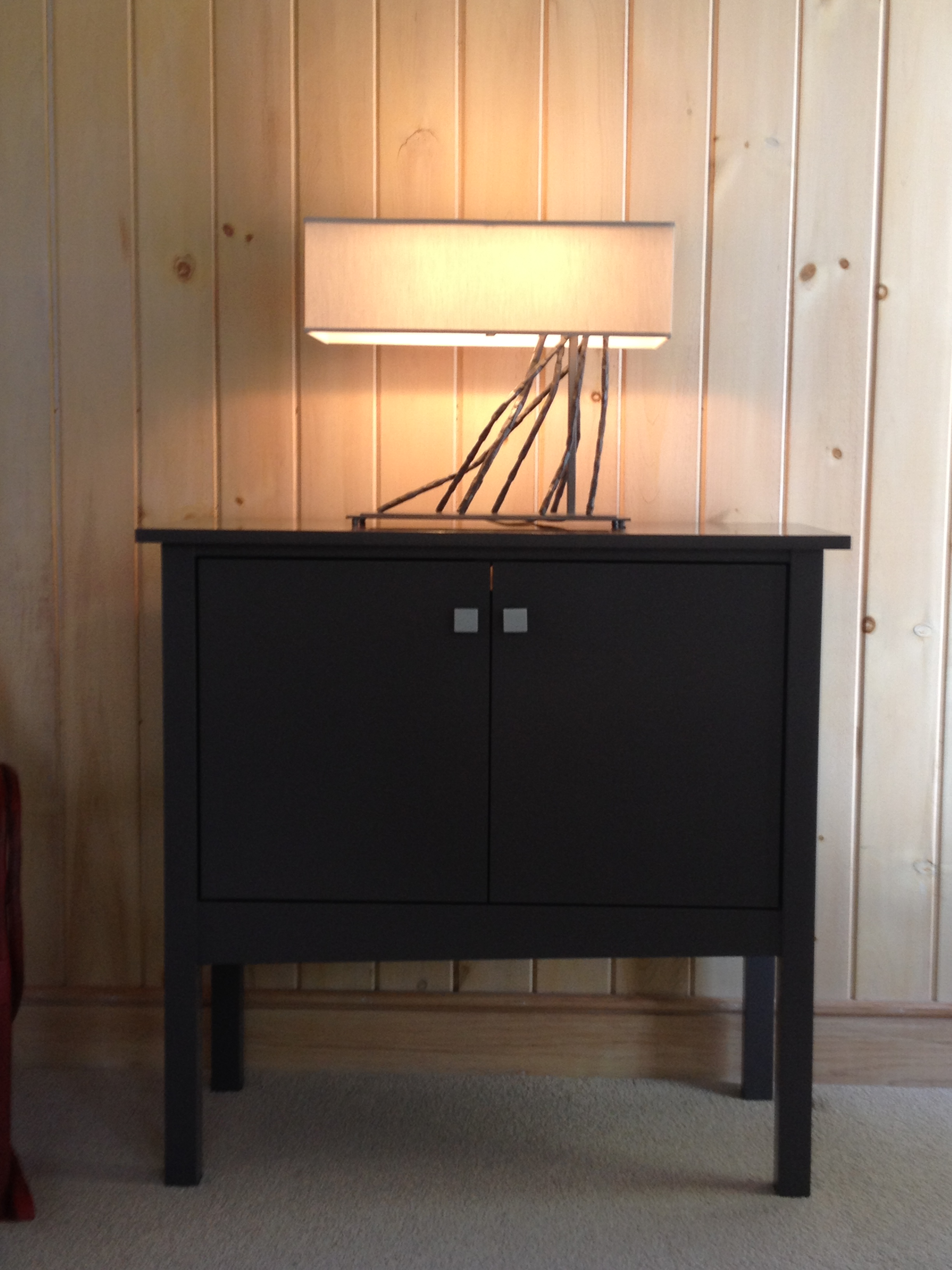 photo of storage cabinet and table lamp