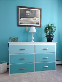 Ombre painted drawers and new hardware update the existing dresser