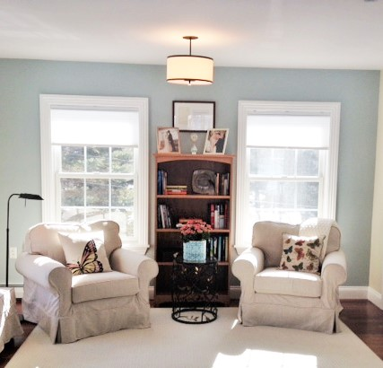 Coastal Master Bedroom Sitting Area The Good Home Interiors Design