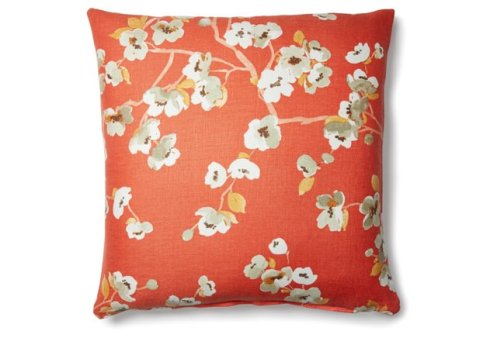 photo of orange floral pillow