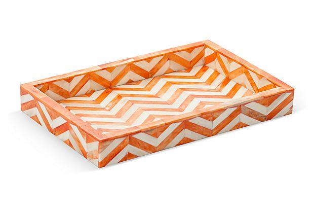 photo of orange chevron tray