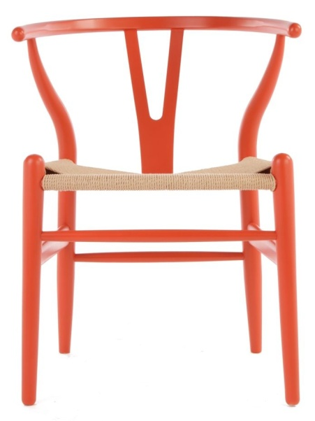 photo of orange wishbone chair