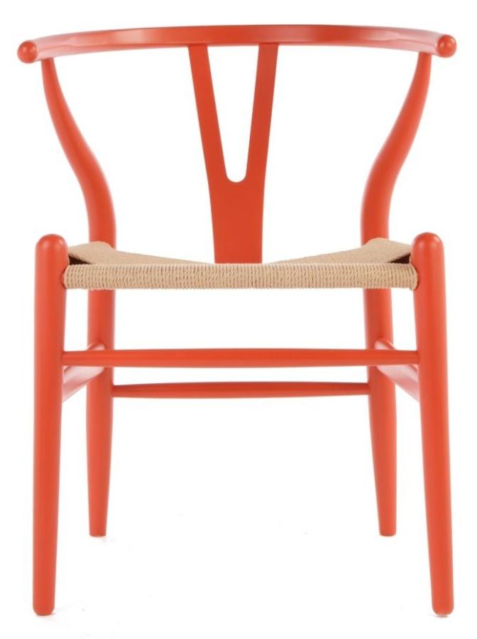photo of orange wishbone chair