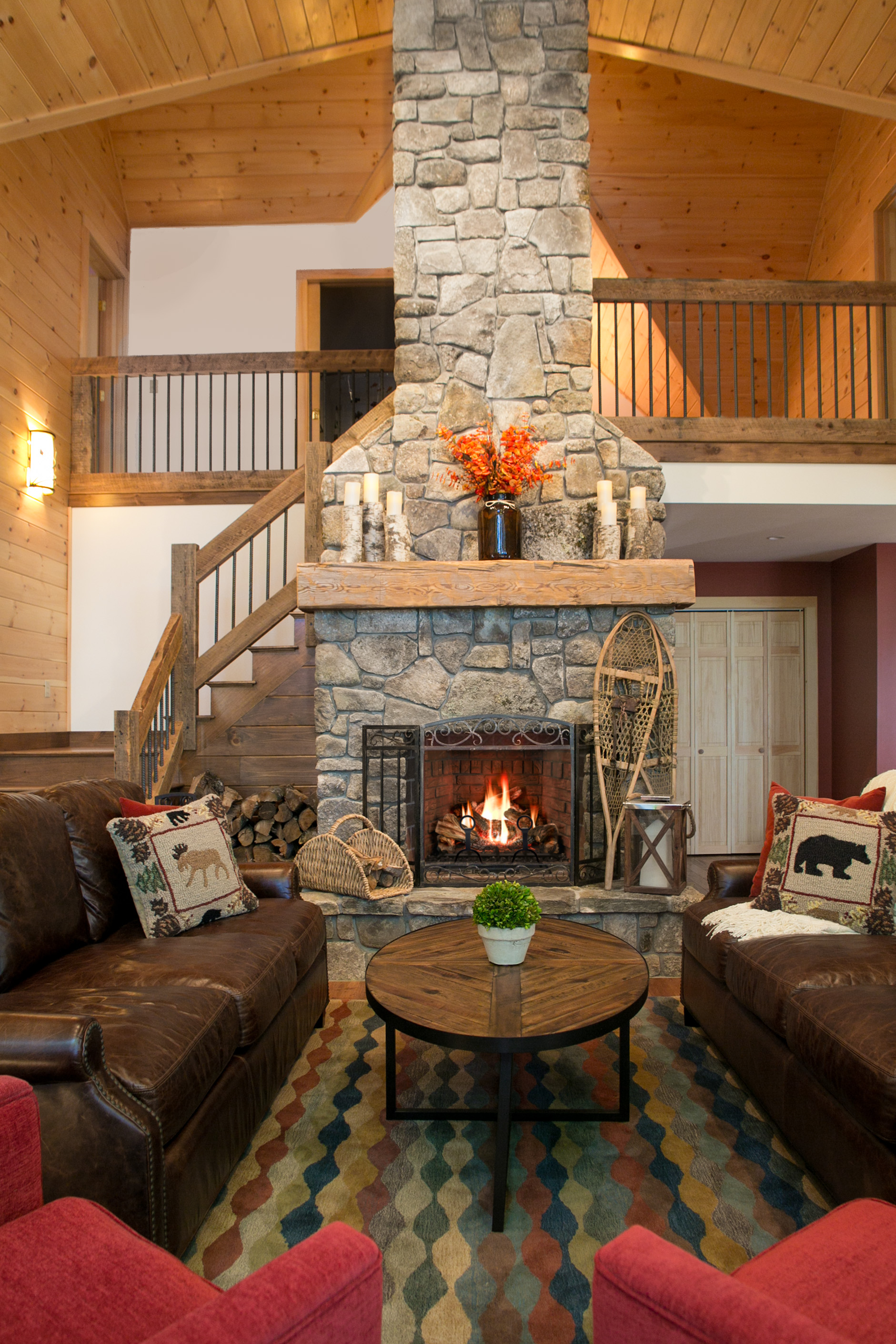 Lake House Great Room And Stone Fireplace