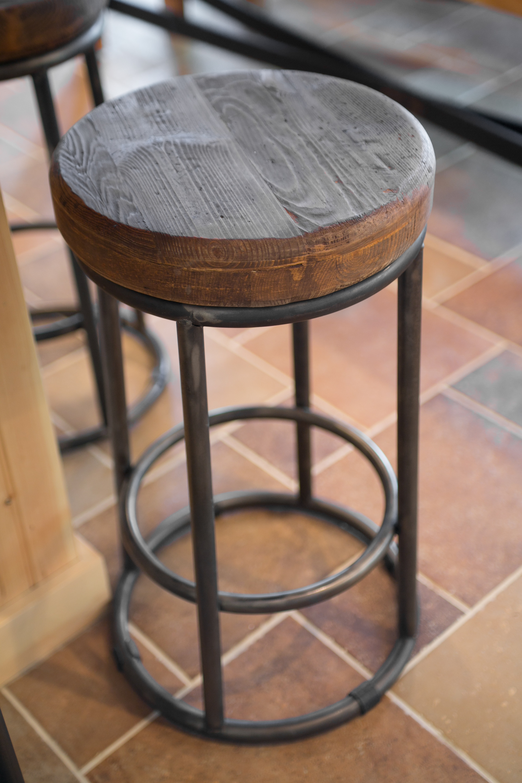 photo of wood and metal barstool