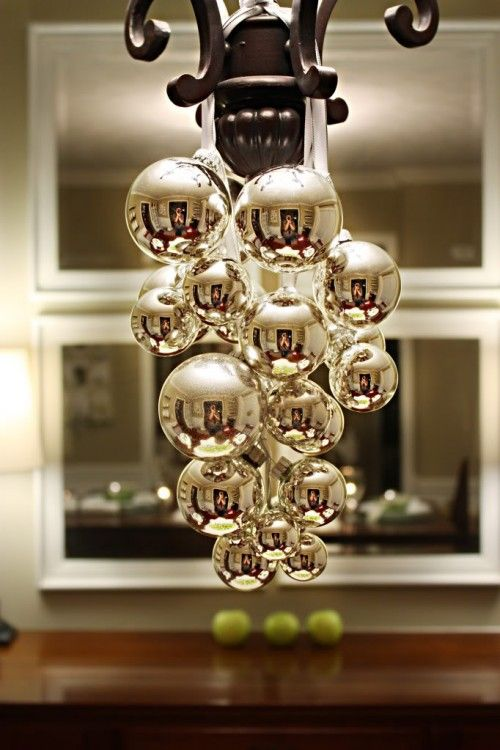 Simple Bulbs And Ribbon On A Chandeliers For Cool Ceiling Decorating Ideas Via Momsbyheart